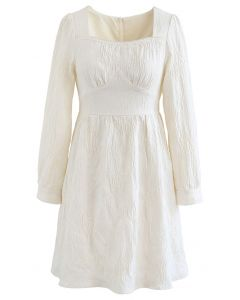 Floral Embossed Square Neck Mini Dress in Ivory
