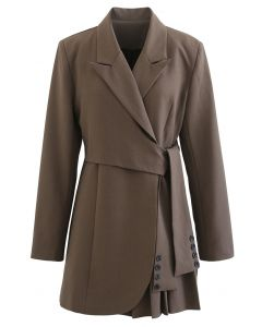 Tie Waist Pleated Pad Shoulder Blazer Dress in Brown