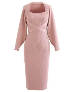 Halter Neck Bodycon Knit Dress with Sweater Sleeve in Pink