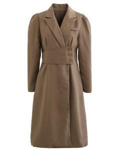 Buttoned Waist Puff Shoulder Coat Dress