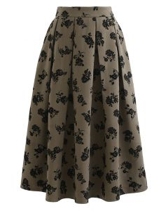 Posy Print Pleated Midi Skirt in Olive
