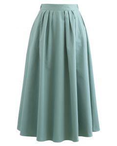 Jade Green Side Pocket Flare Cotton Skirt