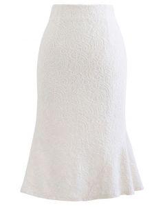 Baroque Velvet Lace Flared Pencil Skirt in Ivory