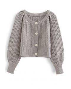 Braid Knit Button Down Crop Cardigan in Linen
