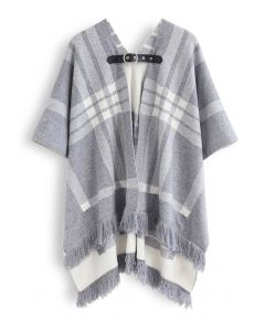 Belted Check Printed Tassel Poncho in Grey