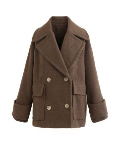 Mild Wool-Blend Double-Breasted Coat in Brown