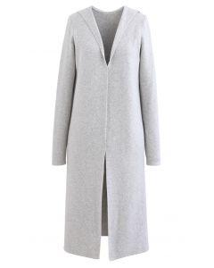Open Front Hooded Knit Longline Cardigan in Grey