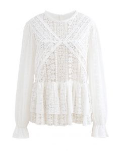 Crochet Lace Tiered Peplum Top in White