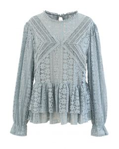 Crochet Lace Tiered Peplum Top in Dusty Blue