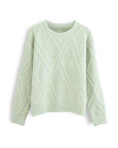 Crisscross Pattern Fuzzy Knit Sweater in Lime