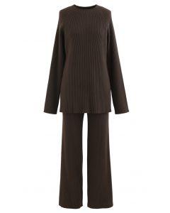 Rib Knit Split Hem Sweater and Pants Set in Brown