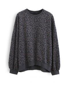 Leopard Print Round Neck Sweatshirt in Smoke