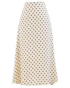 Polka Dots Midi Slip Skirt in Cream