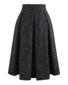 Flare Pleated Wool-Blend Skirt in Black