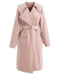 Suede Pocket Belted Trench Coat in Dusty Pink