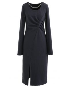 Chain Neck Ruched Split Knit Dress in Smoky Blue
