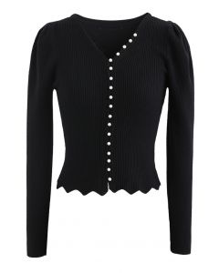 Pearls V-Neck Fitted Knit Top in Black