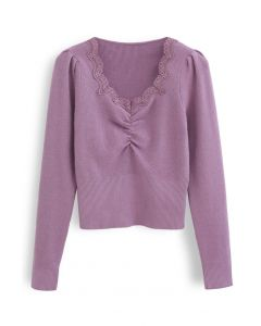 Sweetheart Lace Neck Knit Top in Purple