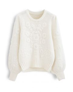 Flowers Embroidered Puff Sleeves Knit Sweater