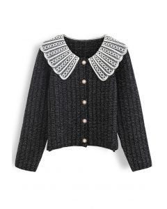 Organza Collar Button Down Chunky Knit Cardigan
