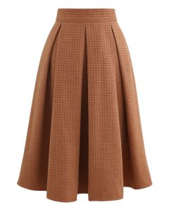 Box Pleated Houndstooth Midi Skirt in Orange