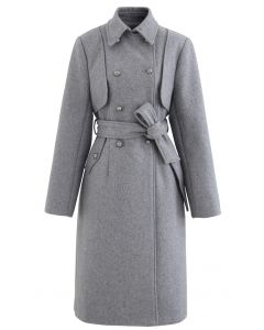 Grey Double-Breasted Wool-Blend Longline Coat
