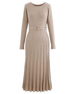Pleated Hem Belted Knit Dress in Light Tan
