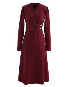 Pearl Button Wrap Knit Midi Dress in Red