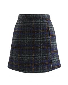 Check Print Wool-Blend Mini Bud Skirt in Teal