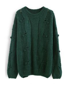 Pom-Pom Eyelet Chunky Knit Sweater in Dark Green