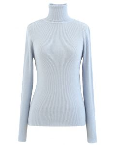 Turtleneck Ribbed Fitted Knit Top in Baby Blue