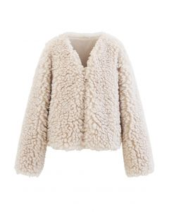 Open Front Fluffy Faux Fur Crop Jacket in Cream
