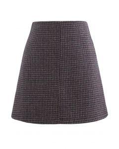 High Rise Textured Wool Blend Mini Skirt in Wine