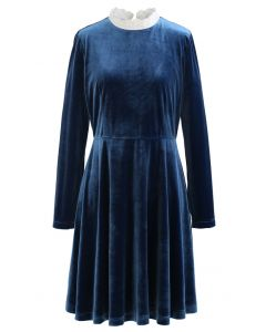 Sweet Neckline Velvet Flare Dress in Peacock