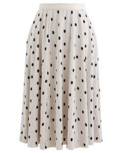 Dots Print Corduroy Velvet skirt in Cream