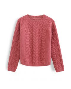 Braid Texture Cropped Knit Sweater in Coral