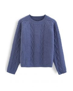 Braid Texture Cropped Knit Sweater in Blue