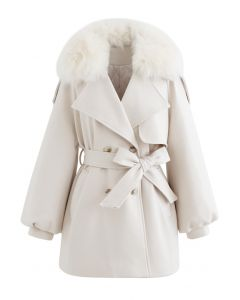 Faux Fur Collar Bubble Sleeves Wool-Blend Coat in Cream