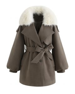 Faux Fur Collar Bubble Sleeves Wool-Blend Coat in Brown
