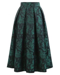 Green Peony Jacquard Pleated Midi Skirt