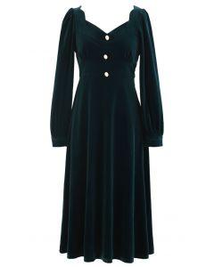 Sweetheart Neck Buttoned Velvet Dress in Emerald