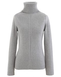 Grey Turtleneck Ribbed Knit Sweater