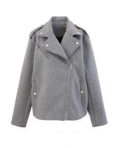 Wool-Blend Zipper Moto Jacket in Grey