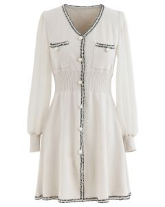 Sheer-Sleeve V-Neck Buttoned Knit Dress in Cream