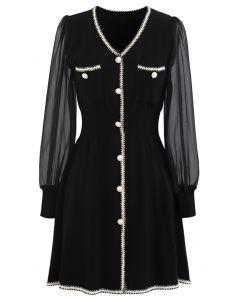 Sheer-Sleeve V-Neck Buttoned Knit Dress in Black