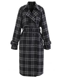 Black Check Belted Wool-Blend Longline Coat