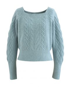 Cropped Square Neck Braid Knit Sweater in Turquoise
