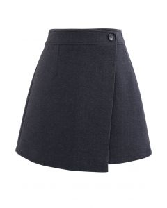 Flap Button Wool-Blend Mini Skirt in Smoke
