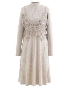 Crochet Mock Neck Knit Twinset Dress in Linen