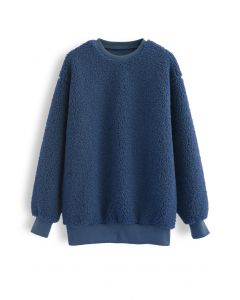 Sherpa Oversized Pullover in Navy